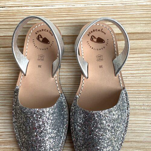 "Avarca Sandale ""Lauren"" Silber Glitzer"